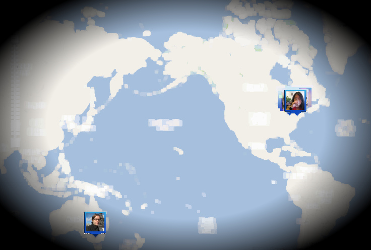 My wife on and I on Google Latitude, filtered for how I see it