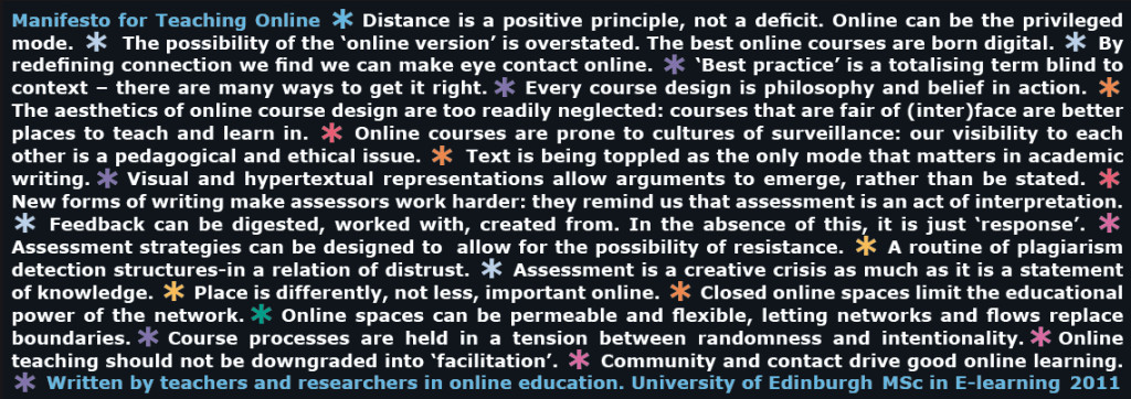 Manifesto for Teaching Online