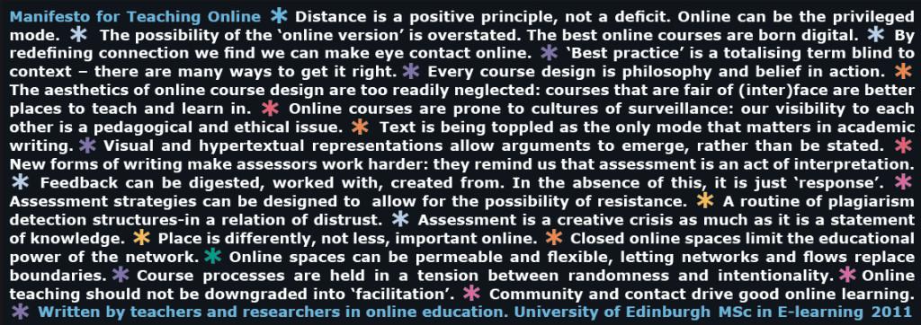 Manifesto for Teaching Online
