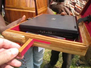 Bamboo laptop case with USB port access