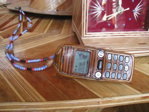 Mobile phone covered in bamboo
