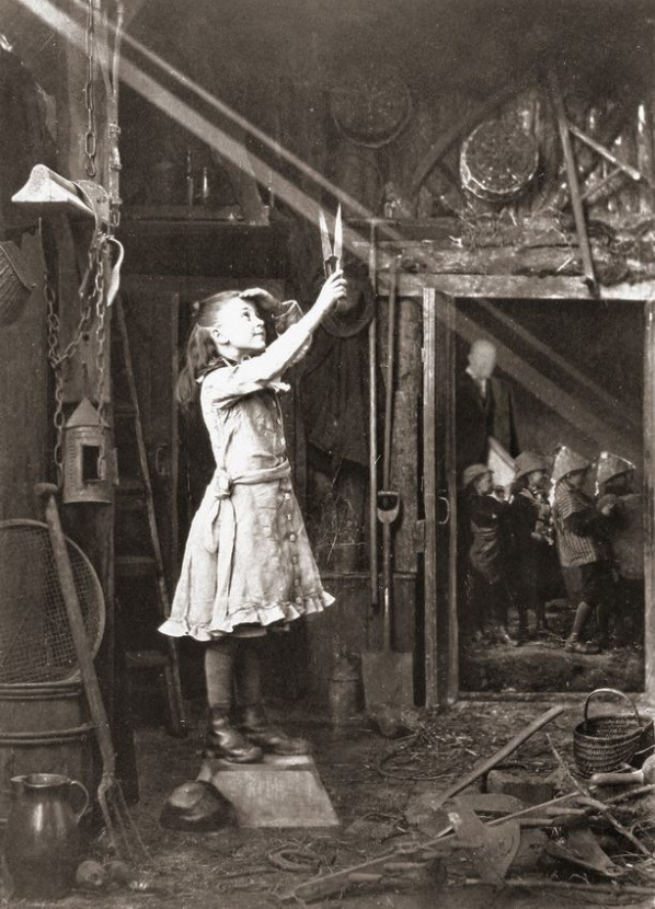 1886, girl cutting sunlight with glass; mobile learning