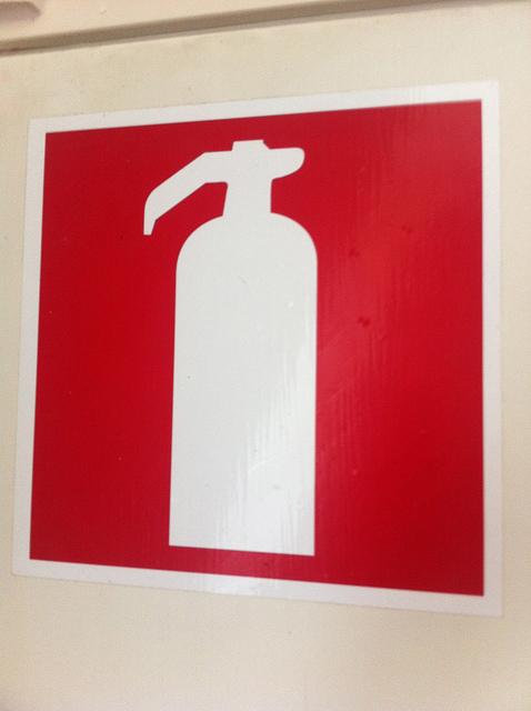 Fire extinguisher sign in Helsinki