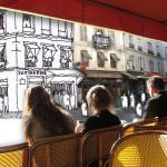 Paris cafe mobile learning illustration