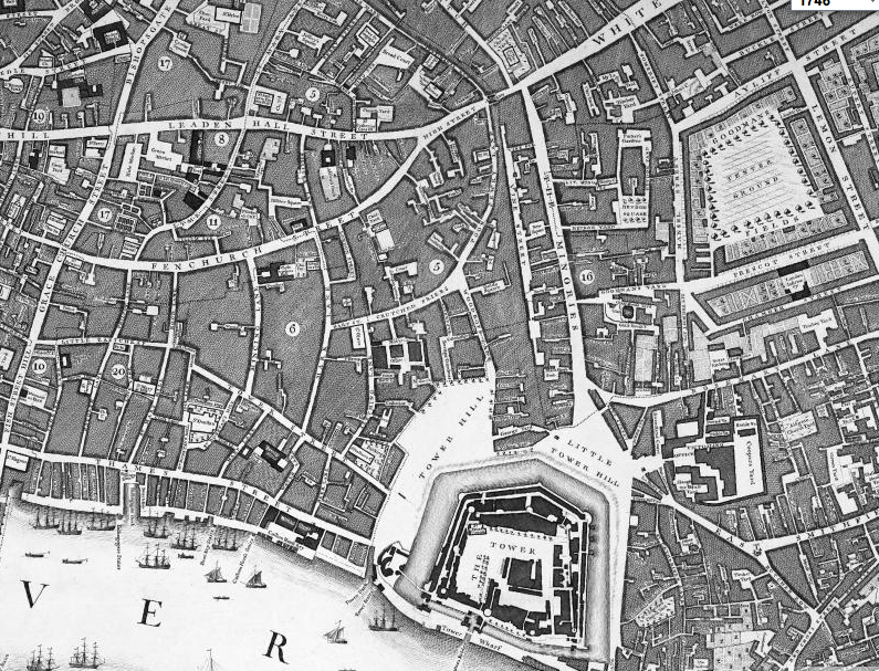 Map of London (closeup of my current neighborhood) from Locating London's Past.