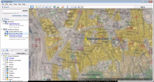 U.S. Army Map Service, 1946 map overlay over Google Earth base layer map
